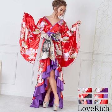サテン和柄フリルロング着物ドレス 衣装 ダンス チャムドレス