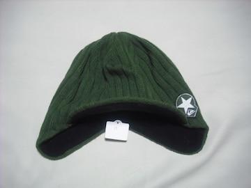 mb58 男 QUIKSILVER クイックシルバー 耳当て つば付き ニット帽