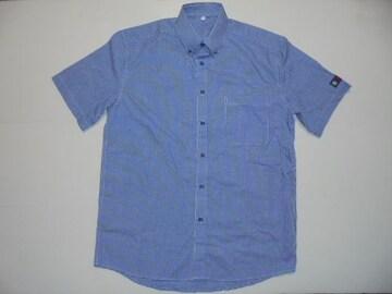 Fami.Bシャツボタンダウン半袖ギンガムチェック青X白M新品未使用