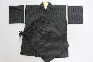 新品子供用しじら織り甚平★男の子100(95〜105)cm★黒新