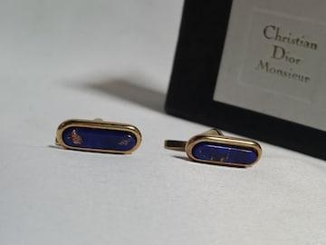 正規美 限定 ディオールDior ヴィンテージ ラピス装飾カフス金×青 ゴールドボタン