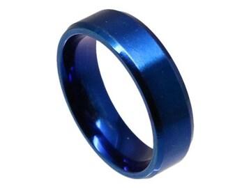 シンプルステンレスリング6mm幅 ブルー 23号 新品 クリックポスト送料無料