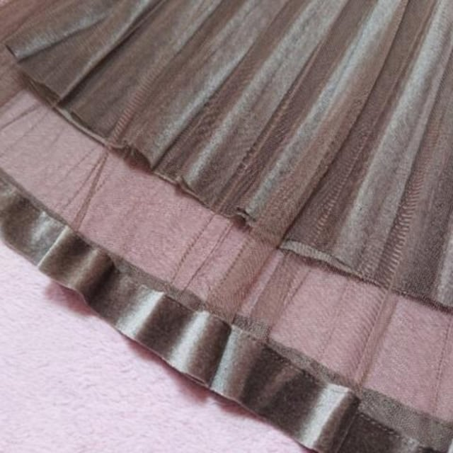 F/新品☆プリーツ×ベロアチュールスカート10 < 女性ファッションの