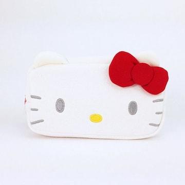【キティ】可愛い♪コスメ.デジカメ.筆記具.小物入 スウェットフェイス スクエアポーチ
