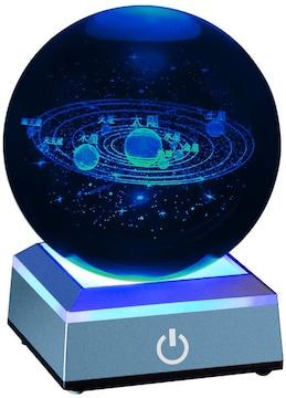 宇宙 クリスタル ボール 水晶玉 80mm LEDライト 多色変更