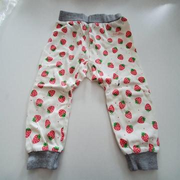 白にイチゴ柄のズボン70~80