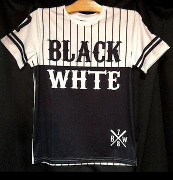セールベースボールシャツ風★ナンバリングナイロンTシャツ★78ブラックホワイトXL