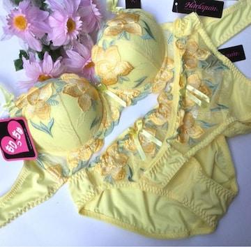 女装☆B80L 大花刺繍イエロー♪ブラ&Tバック