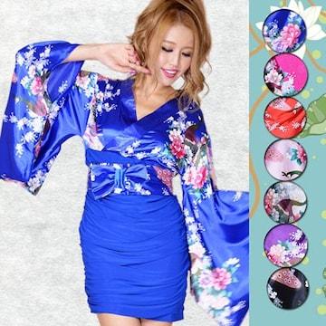 着物ドレス リボン付 ストレッチギャザー ミニスカート キャバ パーティー