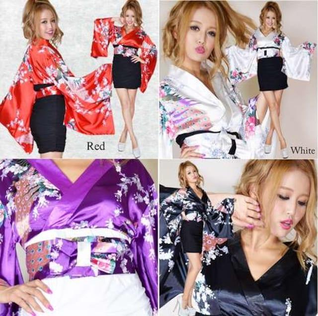 着物ドレス リボン付 ストレッチギャザー ミニスカート キャバ パーティー < 女性ファッションの
