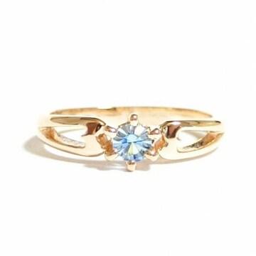 5号 ピンキー クリスタル アクアマリン ピンクゴールド 指輪