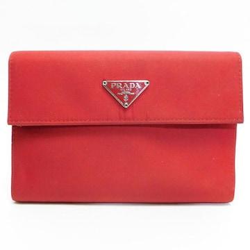 PRADAプラダ 三つ折り財布 赤 ナイロン 良品 正規品