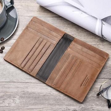 二つ折り カードケース 財布 本革 高級牛革 茶色
