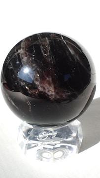 希少★漆黒天然黒水晶★47.5ミリ丸玉★台座付き