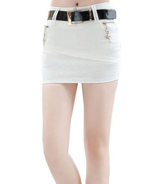 ストレッチ★ベルト付★マイクロミニ★タイトスカート(白.S寸)  < 女性ファッションの