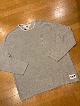 TOMMY JEANS   大きいsize XXL  ワッフルニットセーター グレー