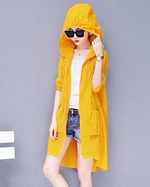 日焼け対策!! フード付きロングカーディガン(2XL寸・黄色) < 女性ファッションの