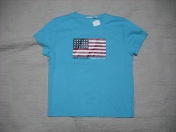 64 女 ラルフローレン 青 半袖Tシャツ S