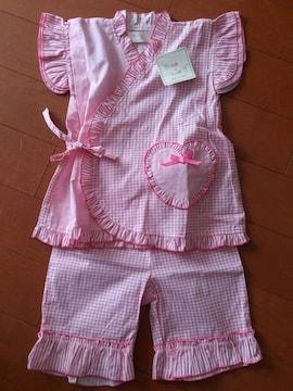 新品★天使のしっぽ フリフリパジャマ 甚平 ピンク100