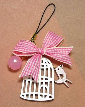 即決新品★鳥かごとリボンのストラップ★ピンク★鳥籠