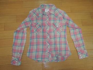 マーブルズMARBLESウエスタンチェックシャツSピンク系TMT