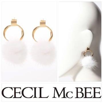 定価1,728円 リング付きふわふわミンクファーピアス CECIL McBEE