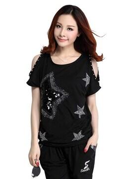 キラキラスター!!半袖スパンコールTシャツ(L寸・黒)