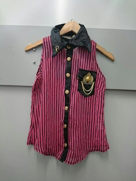 d.i.a☆ストライプノースリーブシャツ