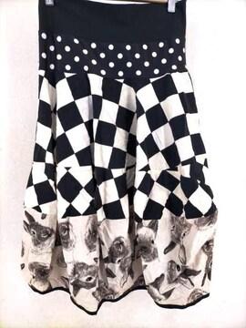 PIC TURES(ピクチャーズ)フラッグチェック×ウサギ柄 バルーンスカートスカート