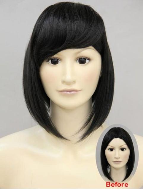 【即決】Wigs2you☆W-704★前髪ウィッグ★ぱっつん★ブラック*黒 < 女性ファッションの