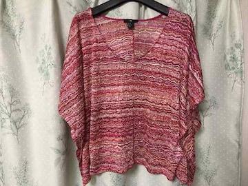 美品H&M赤ピンク系ドルマンカットソートップスVネック半袖