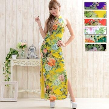 和柄 ロングチャイナドレス衣装 コスプレ キャバ ハロウィン チャムドレス