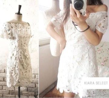 ボートネックオフショルダーフラワーレース白花ワンピースドレス