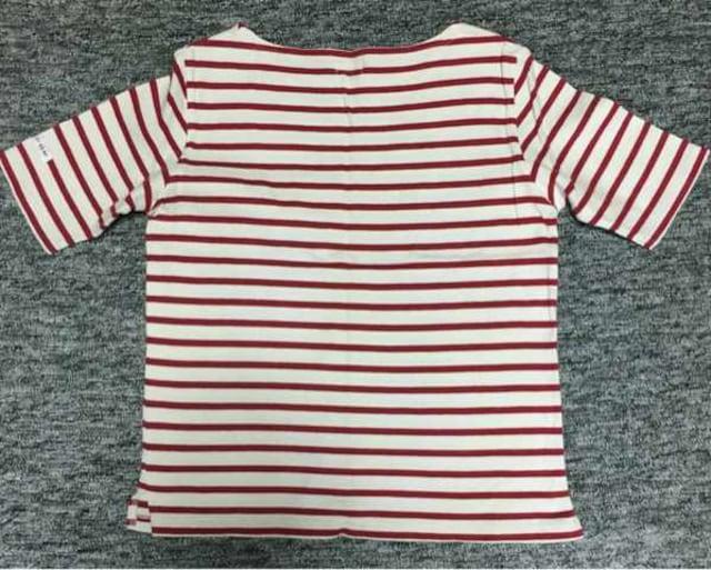 赤×白 ボーダー 厚地半袖Tシャツ S < 女性ファッションの