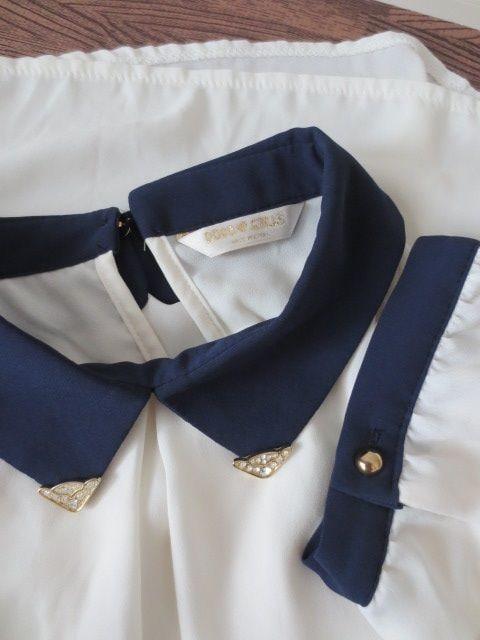 美品/DODO GIRLS/ビジューバイカラーシフォン半袖ブラウス/白紺 < 女性ファッションの