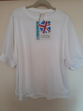 新品未着品 袖透け感が可愛いギャザー切り替えTシャツ