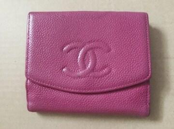 国内正規 CHANEL シャネル キャビアスキン ココマーク 二つ折り財布