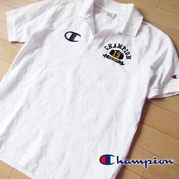 美品 M チャンピオン メンズ 半袖ポロシャツ ホワイト