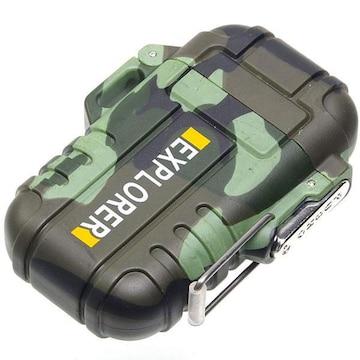 �溺 防水仕様のプラズマライター 軽量 USB充電 迷彩