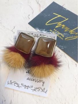 ...handmade earring/アンティーク×ミンクファーイヤリング...