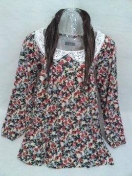 ○丸襟レース☆花柄ニット