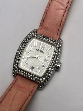 T012 フォリフォリ 腕時計 クォーツ ラインストーン 動作品