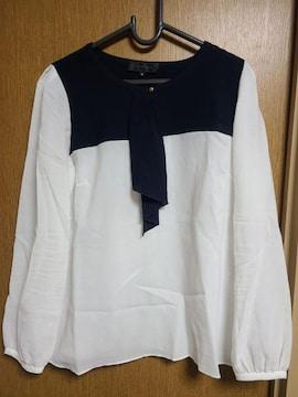 アンタイトル昨季美品白紺長袖バイカラーシフォンブラウスシャツ大きいサイズ411号12号