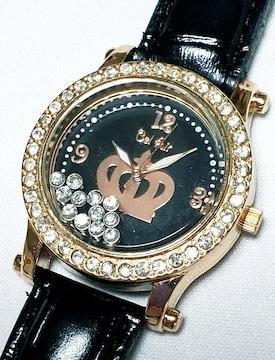★送料無料★新品★腕時計★ブラック★ラインストーン★一点!
