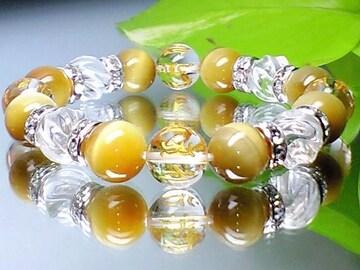 10ミリ美麗七種梵字水晶ゴールドタイガーアイ水晶トルネ-ド