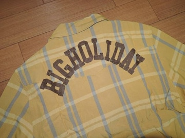 新品TMT背ロゴ開襟チェックシャツLマ刺繍ステッチBIG HOLIDAY