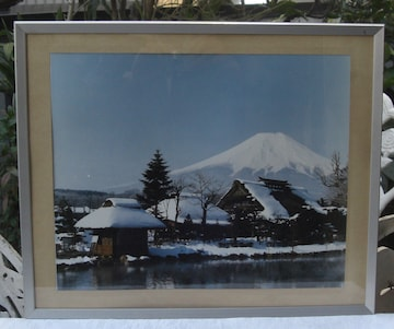 写真パネルステンレス額入り写真「富士山」額入り!中古