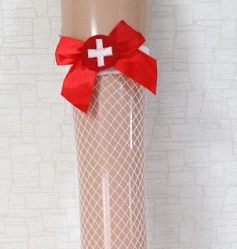 新品[7935]赤十字架リボン付き白〇ニーハイ網タイツ