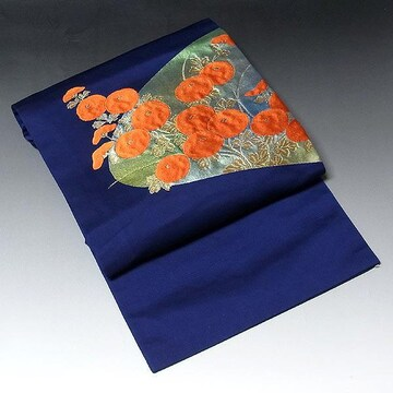 【名古屋帯】正絹 紺地 引き箔 可愛らしい花柄