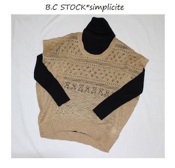 B.C STOCK*simplicite★鉤針編み*ドルマンスラブプルオーバー/新品